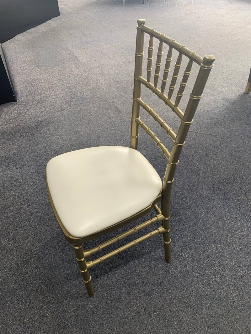 Rose Gold Tiffany Chair with White Padded Seat, pattis hire