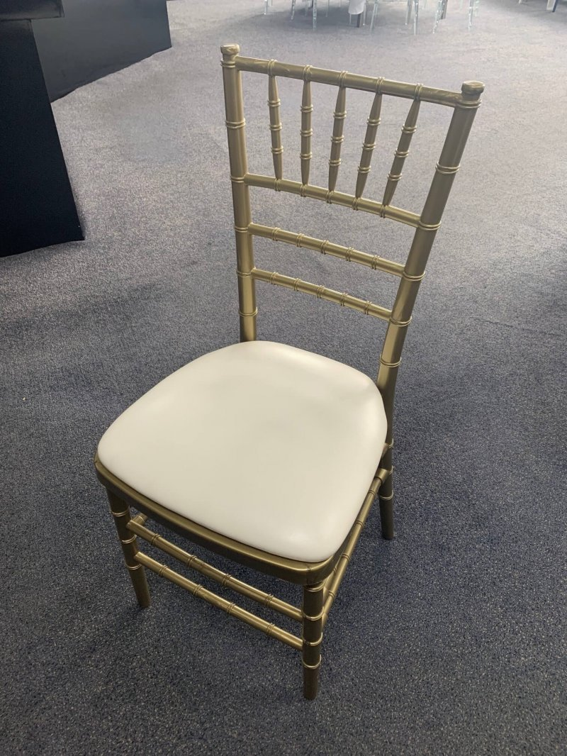 Rose Gold Tiffany Chair with White Padded Seat, patties hire